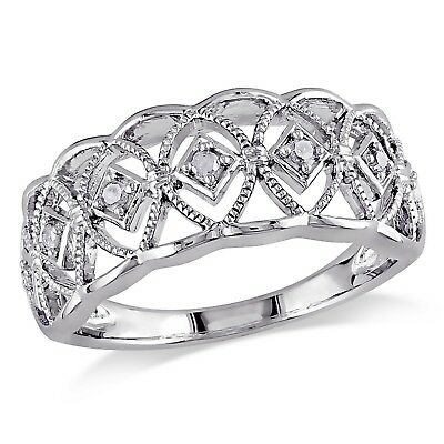 Amour Sterling Silver 1/10 Ct TDW Round-cut Diamond Ring H-I I3