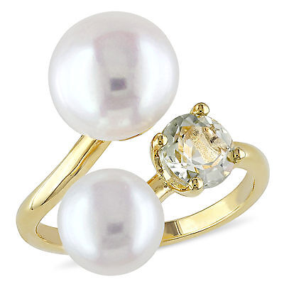 Amour Yellow Silver Freshwater White Pearl and Green Amethyst Ring