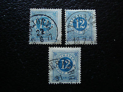 SUEDE - timbre yvert et tellier n° 20 x3 obl (A27) stamp sweden