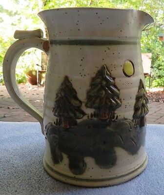 Vintage Bob Anderson Sunflower Pottery Pitcher Pine Trees Forest 2001