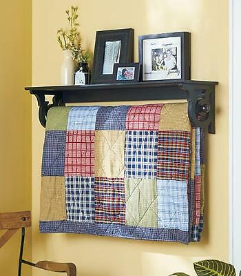 Black Quilt Rack with Display Shelf Wall Mounted Blanket Throw Hanger Country