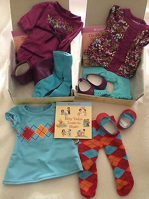 American Girl Bitty Twin Butterfly Tunic & Dress Set Plus Argyle Outfit for Doll