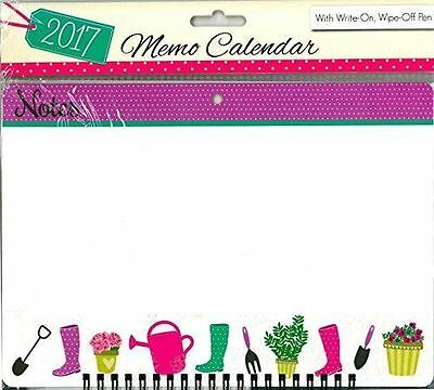 2017 Memo Board Calendar With Write on Wipe Off Pen - 3050 Gardening