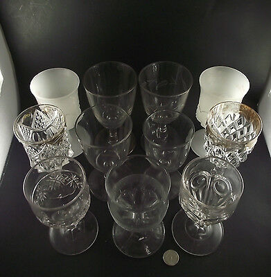 11 Antique Pressed Glass Goblet Collection Patterned Plain Milk Glass White