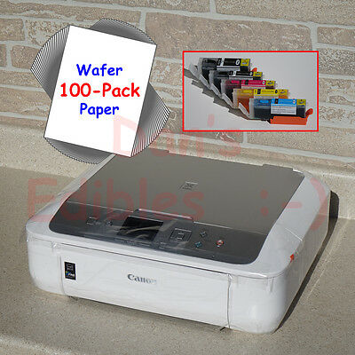 Edible Printer Bundle with Ink, 100 Wafer Sheets, White Canon Wireless MG5722