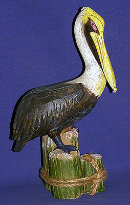Pelican on Piling~Shore Birds~Nautical Decor~Looks Like Real Wood