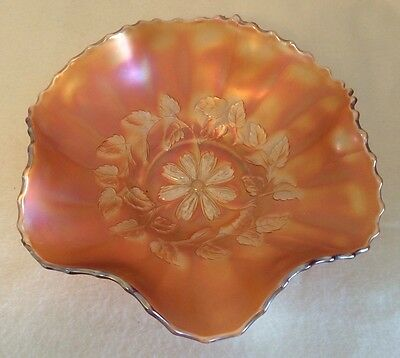 "Dugan Cosmos Variant 6-Ruffle Carnival Glass Bowl, 9-1/2"" - Small Chip on Rim!"