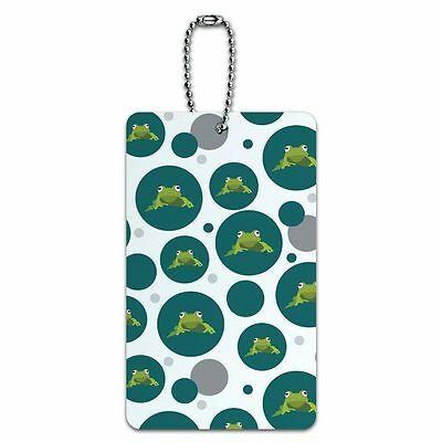 Luggage Card Suitcase Carry-On ID Tag Frog Hop Froggy Ribbit Green