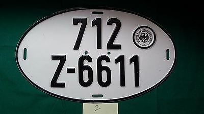 Cool Vintage Oval Hauptzollamt Braunschweig Mitte German License Plate early 60s