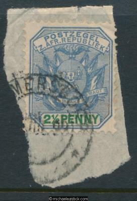 Swaziland SG Z33 2½d on piece, Bremersdorp Jul 1898