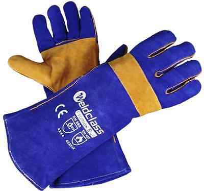 Promax Blue Cowhide Leather Welding Gloves 400mm