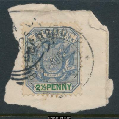 Swaziland SG Z33 2½d on piece, Bremersdorp 02-08-1899