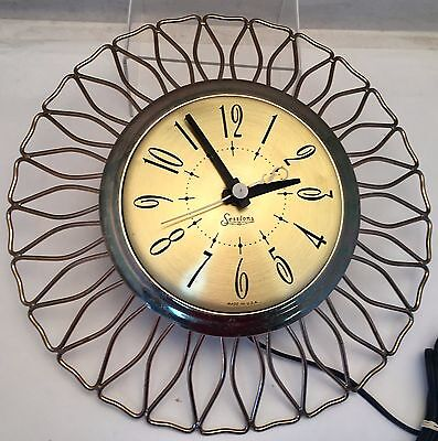 "Vintage MCM Sessions Art Deco Brass Sunburst Electric 12"" Wall Clock ""S"" Works!"