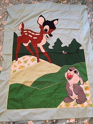 Bambi & Thumper Wall Hanging Baby Quilt - Finished Needlepoint Quilt Picture Art