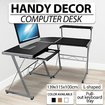 Black/Brown/White Office Computer Desk Corner Table Pull-out Tray Top Shelf