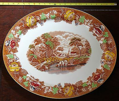 """HUGE 21"""" English Scenery WOOD & SONS Multi-Color Light Brown OVAL PLATTER 1917"""