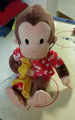 "NEW Curious George Red Star Pajamas & Blanket 16"" Monkey #4948106 Gund 1-5 yrs"