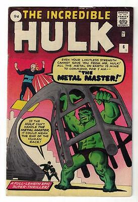 MARVEL Comics HULK 6  1962 5.5 avengers Beauty and the beast