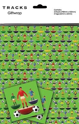 Football Subbuteo Gift Wrap Present Wrapping Paper With Matching Tags