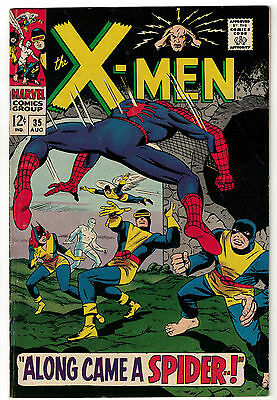 Marvel Comics THE X-MEN Issue 35 Along Came A Spider! Spider-Man Appears VG