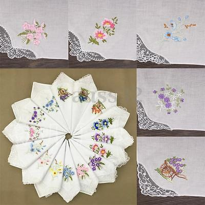 6x Vintage Cotton Women Embroider Butterfly Flower Lace Hankies Floral Assorted