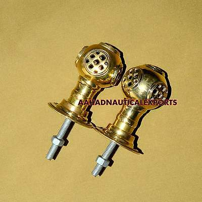 Set 2 pcs Vintage Solid Brass Helmet Knob Brass Handle Retro Entry Door Handle • CAD $44.51