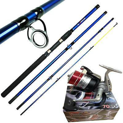 4PC SEA ANGLING TRAVEL FISHING ROD 9ft 2.7M X-TREME + SILK 70 REEL + FEATHERS