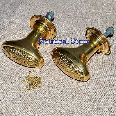 Handmade Brass Door Knobs Handles Brass Flower style Architectural Antique Old