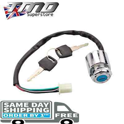 Motorcycle Ignition Barrel Key Switch 4 wire Universal Chrome On/Off Metal