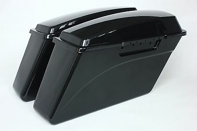 Black Touring Hard Saddlebags for Harley Road King Glide Electra w/Lid 1993-2013