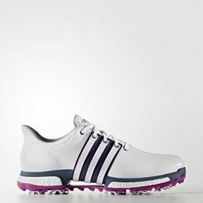 Adidas Tour360 boost WD Golf Shoes 2 Year Waterproof 2016 F33484 White/Pink/Blue