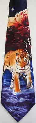 NEW! Orange Bengal Tiger in Water with Storm Approaching Novelty Necktie #1550-L
