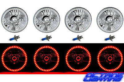 5-3/4 SMD Red LED Halo Halogen Bulb Headlight Angel Eye Crystal Clear Set Of 4