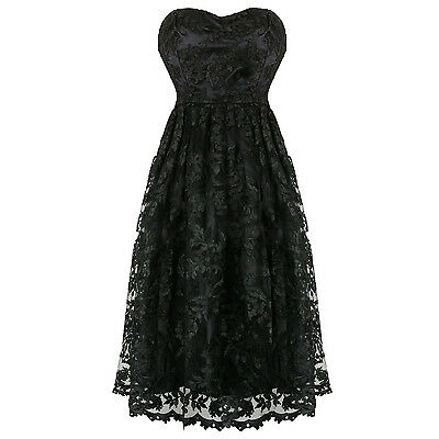 Hearts & Roses London Black Lace Victorian Gothic Steampunk Vintage Party Dress