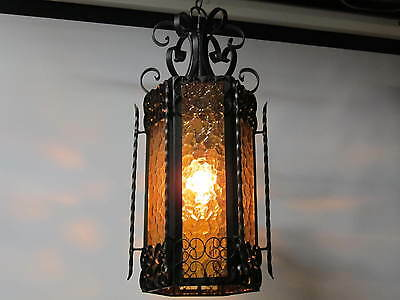 Stained Glass Wrought Iron Gothic Swag Hanging Lamps Spanish Revival Exc Glass