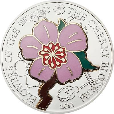 Cook Islands 2012 $5 Cherry Blossom Flowers of World Silver Coin in Cloisonne