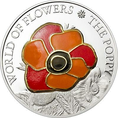Cook Islands 2009 $5 The Poppy Flowers of World Silver Coin in Gold Cloisonne