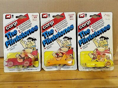 Corgi diecast The Flintstones Fred Wilma Barney cars 1/64 from 1982
