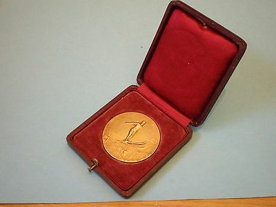 Silver Ski Medal, Solid Silver French Hallmarked Medal With Gilt Finish, Cased