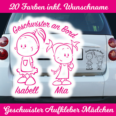 Autoaufkleber Wunschname Geschwister Schwester Mädchen Baby an Bord on Board PKW