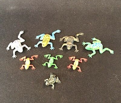 8 Small Rubber Frog Figurines