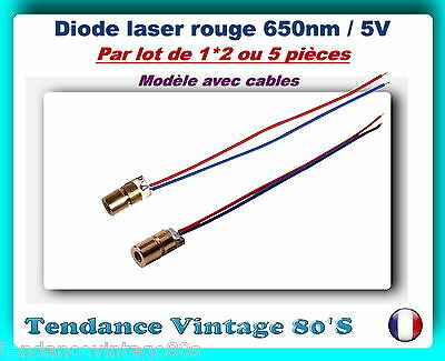 *** Lot De 1*2 Ou 5 Diode Laser Rouge 5Mw/650Nm Avec Cables / Arduino ***