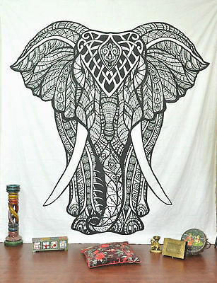 Indian Elephant Hippie Tapestry Wall Hanging Black White Bohemian Dorm Decor NEW