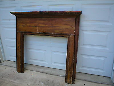Antique primitive Fireplace Mantle, grain painted, early original
