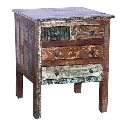 """Set of 2 - 26"""" H Nightstand distress reclaimed wood hand crafted 4 drawer unique"""