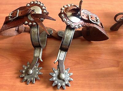 NICE~CANON CITY STYLE SILVER OVERLAY AND INLAY  SPURS w/VISALIA STYLE STRAPS