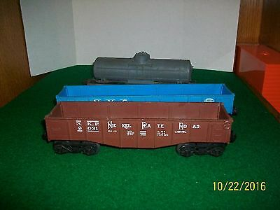 Vintage Lionel Lot of Three Rolling Stock including Nickle Plate Rd Gondola Car