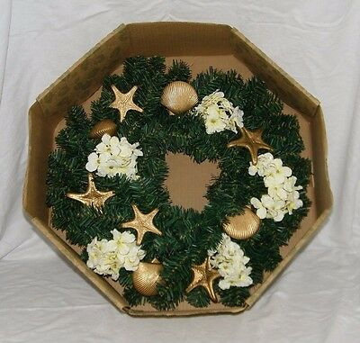 Carolina Crafts Gold Sea Shell Wreath Seashell Christmas Holiday Xmas 18972 18""