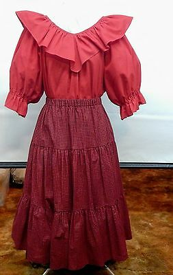 Red And Check Square Dance Prairie Dress