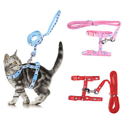 3 Colors Adjustable Pet Cat Nylon Lead Leash Harness Collar Rope Safety Belt